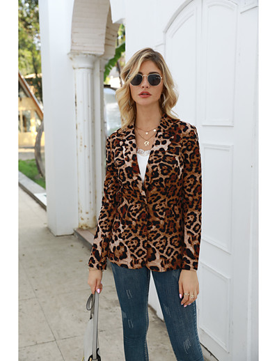 cheap OUTERWEAR-Women's Blazer Leopard Light Brown / Brown S / M / L