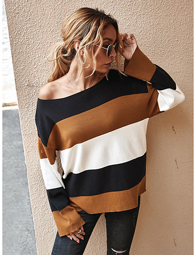 cheap Sweaters & Cardigans-Women's Color Block Pullover Long Sleeve Loose Sweater Cardigans Boat Neck Fall Winter Black Gray