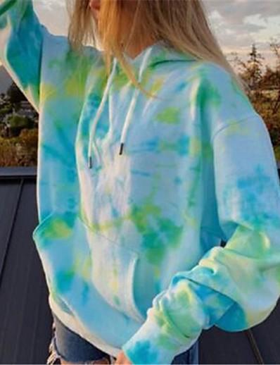 cheap Hoodies & Sweatshirts-Women's Daily Pullover Hoodie Sweatshirt Tie Dye Basic Hoodies Sweatshirts  Loose Oversized Blue Blushing Pink Green