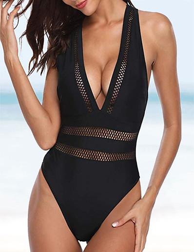 cheap SWIMWEAR-Women's Halter Basic One-piece Swimsuit Lace Criss Cross Slim Solid Colored Swimwear Bathing Suits Black / Padless