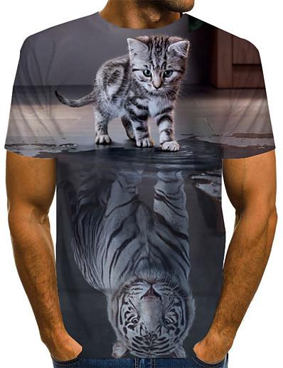 abordables Hommes-Homme Quotidien Grandes Tailles Tee-shirt Graphique Animal Imprimé Manches Courtes Hauts basique Exagéré Col Rond Arc-en-ciel