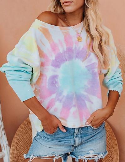 abordables Sweats à capuche et sweat-shirts-Femme Sweat à capuche Teinture par Nouage Simple Pulls Capuche Pulls molletonnés Violet Vert
