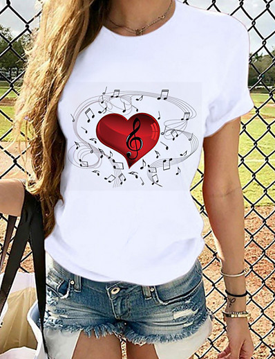 cheap Tees & T Shirts-Women's T-shirt Heart Graphic Prints Round Neck Tops Slim 100% Cotton Basic Top White