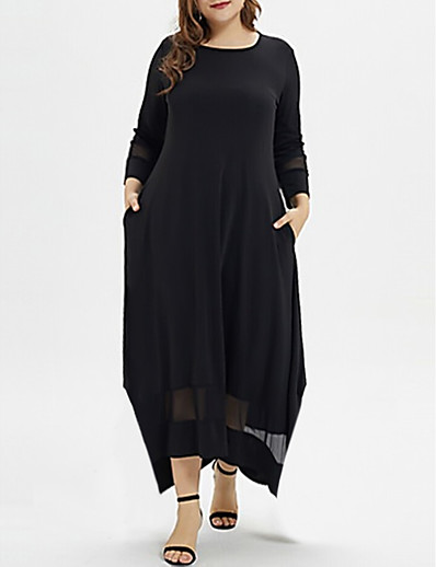 cheap PLUS SIZE-Women's Plus Size A-Line Dress Maxi long Dress - Long Sleeve Solid Colored Casual Black XL XXL XXXL XXXXL XXXXXL