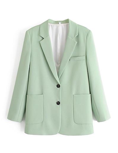 abordables Blazers-Femme Revers Cranté Blazer Vert S / M / L