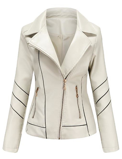 cheap Outerwear-Women's Jacket Solid Colored Spring &  Fall Regular Daily Long Sleeve PU Coat Tops White