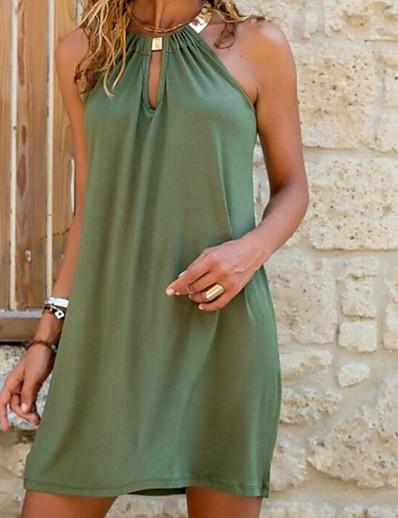 cheap Casual Dresses-Women's Shift Dress Short Mini Dress - Sleeveless Summer Hot Sexy vacation dresses 2020 Blue Orange Green S M L XL XXL 3XL