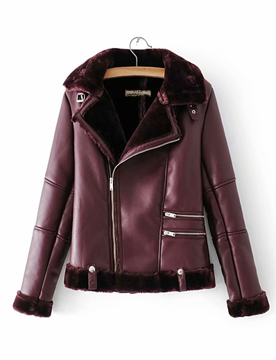 cheap Furs & Leathers-Women's Winter Faux Leather Jacket Short Solid Colored Daily Wine Army Green M L XL