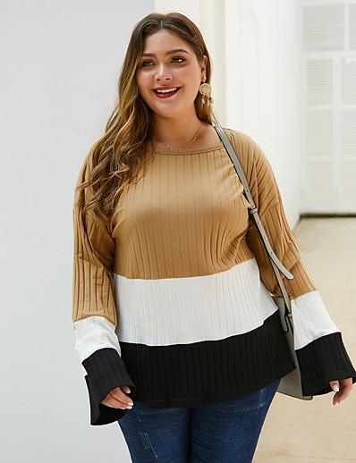 cheap Plus Size Tops-Women's Plus Size Blouse Shirt Color Block Long Sleeve Print Round Neck Tops Basic Basic Top Khaki