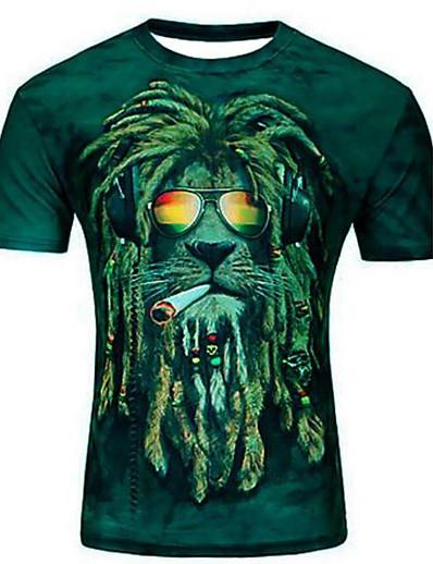 cheap Men's 3D-Men's T shirt Graphic Animal Plus Size Print Short Sleeve Casual Tops Purple Light Green Army Green