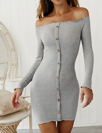 cheap Sweater Dresses-Women's Sweater Jumper Dress Short Mini Dress White Black Blushing Pink Gray Light Blue Long Sleeve Solid Color Fall Winter Off Shoulder Hot Sexy Cotton 2021 S M L XL