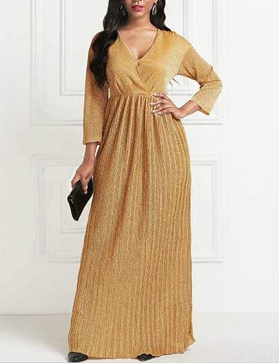 cheap Elegant Dresses-Women's Maxi long Dress - 3/4 Length Sleeve Pleated Summer V Neck Formal 2020 Gold S M L XL XXL