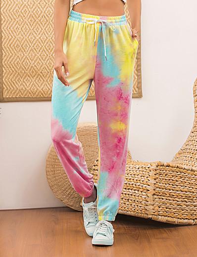 abordables Bas-Femme Des sports Ample Quotidien Chino Pantalon Teinture par Nouage Cordon Rose Claire Fuchsia Orange / Hiver