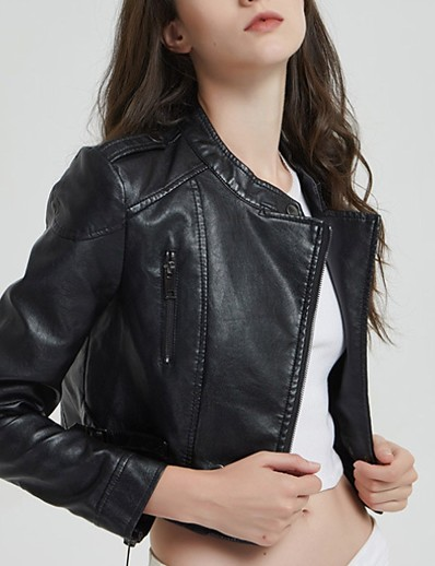 cheap Jackets-Women's Faux Leather Jacket Regular Solid Colored Daily Black S / M / L