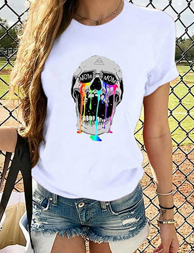 cheap NEW IN-Women's T-shirt Graphic Prints Skull Printing Round Neck Tops Loose 100% Cotton Basic Top White
