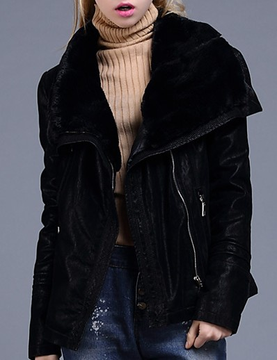 cheap Furs & Leathers-Women's Faux Leather Jacket Regular Solid Colored Daily Black Red S M L