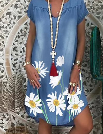abordables Robes Décontracté-Femme Robe Droite Robe Longueur Genou Manches Courtes Fleurie Imprimé Eté chaud Simple 2021 Blanche Bleu clair M L XL XXL 3XL