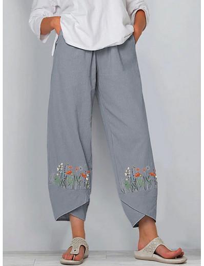 abordables Bas pour femmes-Femme basique Séchage rapide Ample Chino Pantalon Fleurie Violet Bleu Marine Gris