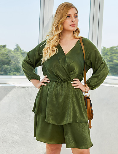 cheap Plus Size Dresses-Women's A-Line Dress Knee Length Dress - 3/4 Length Sleeve Solid Color Spring Summer V Neck Casual Daily 2020 Blue Wine Green XL XXL XXXL XXXXL
