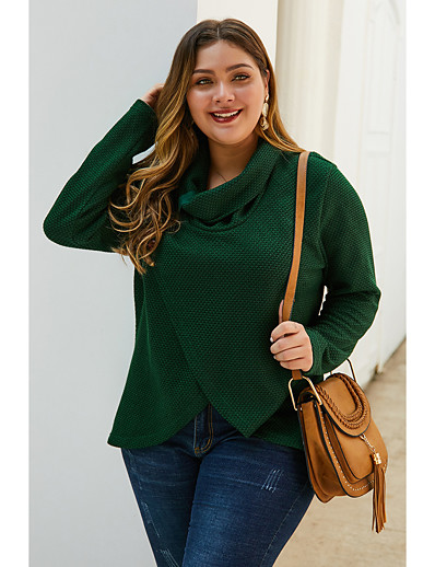 cheap Plus Size Tops-Women's Solid Colored Pullover Long Sleeve Plus Size Oversized Sweater Cardigans Turtleneck Fall Winter Army Green