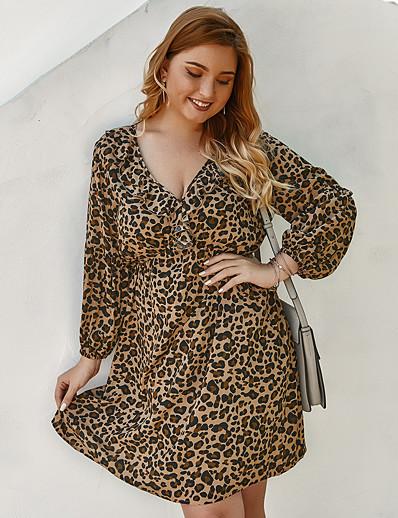 cheap Plus Size Dresses-Women's A-Line Dress Knee Length Dress - Long Sleeve Leopard Print Spring V Neck Sexy Daily Loose 2020 Brown XL XXL XXXL XXXXL