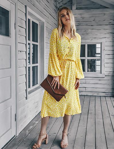 cheap Sweaters & Cardigans-Women's Swing Dress Midi Dress - Long Sleeve Geometric Print Fall V Neck Casual 2020 Blue Yellow Orange S M L XL