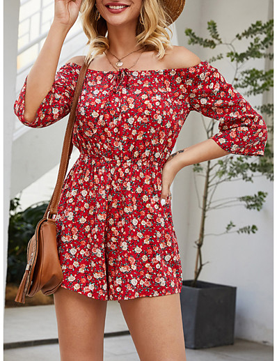 cheap JUMPSUITS & ROMPERS-Women's Streetwear Off Shoulder Red Romper Floral Color Block Print