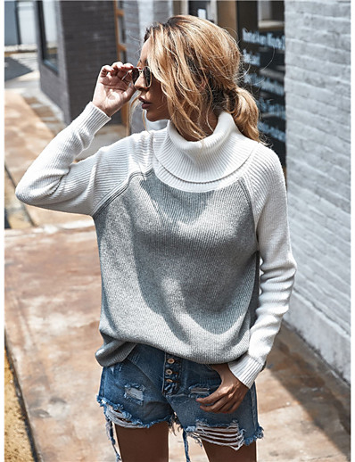 cheap Sweaters & Cardigans-Women's Casual / Daily Color Block Pullover Long Sleeve Sweater Cardigans Turtleneck Fall Winter Black Blushing Pink Blue
