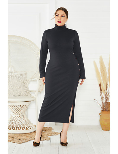 cheap Plus Size Dresses-Women's Sheath Dress Midi Dress - Long Sleeve Solid Color Split Fall Sexy Oversized 2020 Black Blue Wine XL XXL XXXL XXXXL XXXXXL