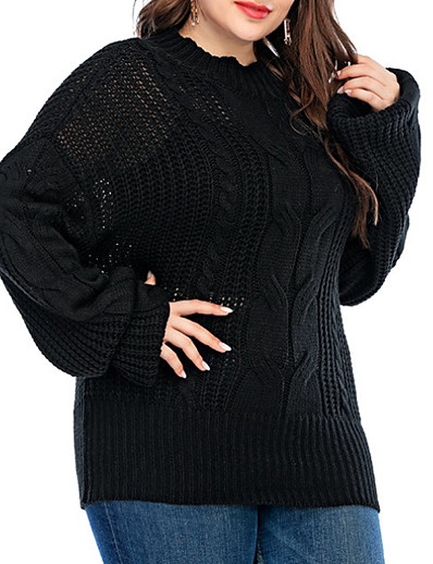 cheap Plus Size Tops-Women's Solid Colored Pullover Long Sleeve Loose Sweater Cardigans Crew Neck Black