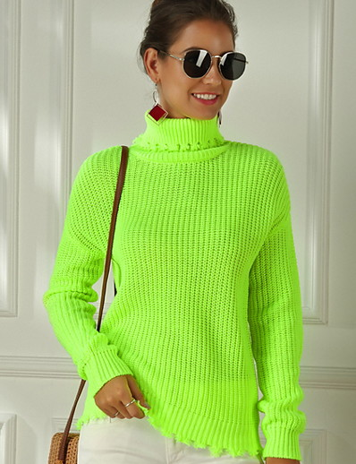cheap Sweaters & Cardigans-Women's Solid Colored Pullover Cotton Long Sleeve Sweater Cardigans Turtleneck Fall Blushing Pink Green