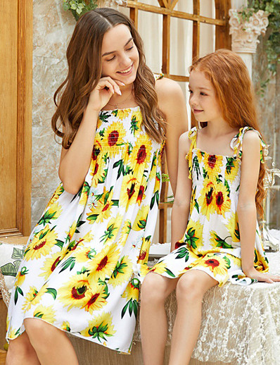 cheap Family Matching Outfits-Mommy and Me Vintage Sweet Floral Color Block Lace up Print Sleeveless Knee-length Dress Yellow