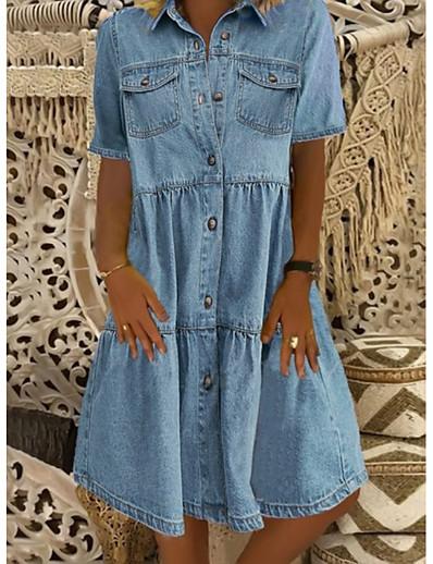 cheap Plus Size Dresses-Women's Denim Shirt Dress Knee Length Dress - Short Sleeve Square Pocket Summer Shirt Collar Casual 100% Cotton 2020 Blue S M L XL XXL XXXL