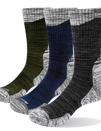 cheap SPORTSWEAR-Men's Hiking Socks Crew Socks Ski Socks 3 Pairs Summer Outdoor Breathable Warm Moisture Wicking Anti Blister Socks Patchwork Cotton Multi color for Camping / Hiking Hunting Fishing