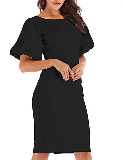 cheap Elegant Dresses-Women's Sheath Dress Knee Length Dress - Short Sleeve Solid Color Print Summer Sexy Daily 2020 Black Red Blushing Pink Khaki S M L XL XXL