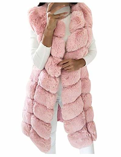 cheap Furs & Leathers-Women's Vest Long Solid Colored Party Basic Faux Fur Black Pink Gray S M L XL
