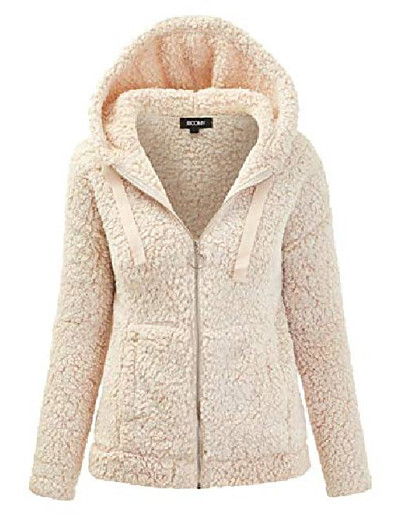 cheap PLUS SIZE-women's oversized shearling teddy bear jacket - faux fur hoodie zip up coat - regular and plus sizes small w-oatmeal