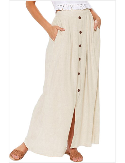 cheap Bottoms-Women's Daily Wear Basic Swing Skirts Solid Colored Beige / Maxi
