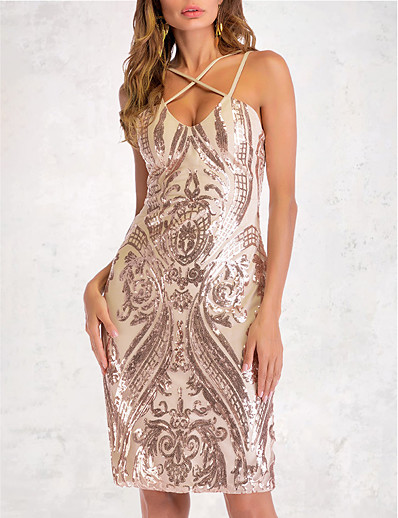 cheap DRESSES-Women's A-Line Dress Short Mini Dress - Sleeveless Solid Color Sequins Embroidered Summer Sexy Party Club 2020 Gold S M L XL XXL