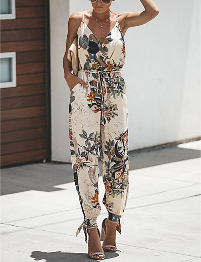cheap Jumpsuits & Rompers-Women's Daily Casual V Neck White Black Jumpsuit Floral Drawstring / Harem