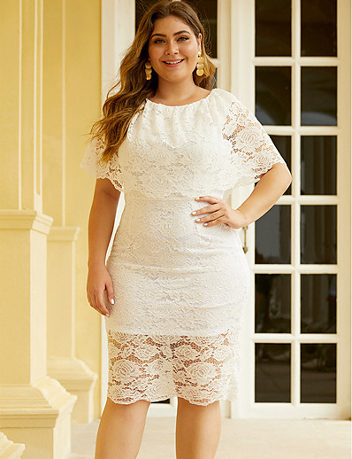 cheap PLUS SIZE-Women's Shift Dress Knee Length Dress - Short Sleeve Solid Color Lace Summer Boho Daily Holiday 2020 White Black XL XXL XXXL XXXXL XXXXXL