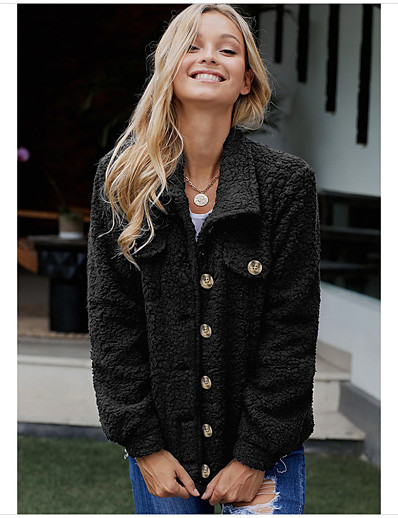 cheap Furs & Leathers-Women's Fall & Winter Single Breasted Teddy Coat Regular Solid Colored Daily Basic Fur Trim Black Khaki Gray S M L XL / Loose