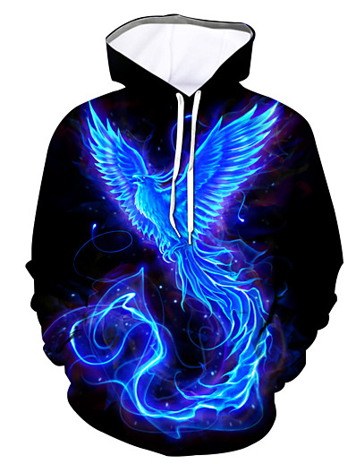 cheap Men's Tops-Men's Daily Hoodie Graphic Bird Hooded 3D Print Animals Hoodies Sweatshirts  Blue