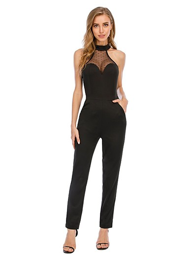 cheap Jumpsuits & Rompers-Women's Sophisticated Halter Neck Black Slim Romper Solid Colored Mesh Patchwork / Pencil