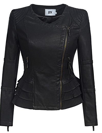 cheap Furs & Leathers-Women's Zipper Faux Leather Jacket Regular Solid Colored Daily Punk & Gothic Ruffle Black S M L XL / Slim