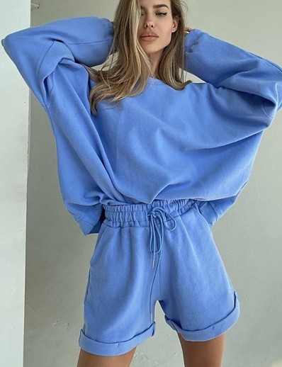 cheap Two Piece Set-Women's Basic Solid Colored Two Piece Set Cotton Loungewear Shorts Jogger Pants Sweatshirt Tracksuit Drawstring Tops / Loose
