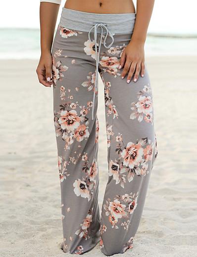 cheap Women's Bottoms-Women's Loose Wide Leg Pants Print Black Blue Dusty Rose