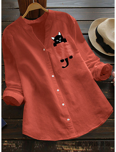 cheap TOPS-Women's Blouse Cat Print V Neck Tops Cotton Basic Fall Winter White Red Yellow