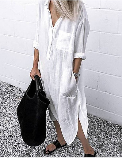 cheap Casual Dresses-Women's Swing Dress Midi Dress - Long Sleeve Solid Color Split Pocket Summer Shirt Collar Work Hot Casual Cotton Loose 2020 White Blue Red Yellow Gray Light Blue S M L XL XXL 3XL 4XL 5XL
