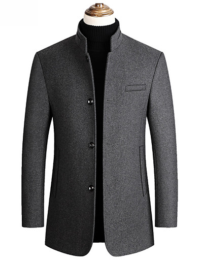 cheap Men's Outerwear-Men's Stand Collar Overcoat Long Solid Colored Daily Basic Long Sleeve Black Wine Navy Blue Gray M L XL XXL